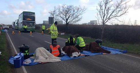 Anti-nuclear campaigners block road to Hinkley Point B HINKLEY Point B workers were prevented from getting to work after anti-nuclear protestors chained themselves together, blocking the road