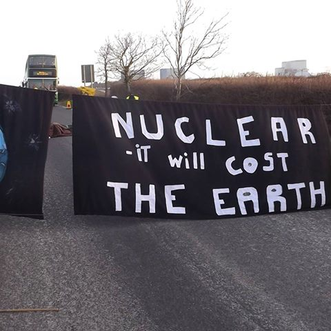 Anti-nuclear Shutdown of EDF shutdown Campaigners from South West Against Nuclear, Nuclear Free Bristol & Bristol CND shut down the EDF at Hinkley Point B in Somerset