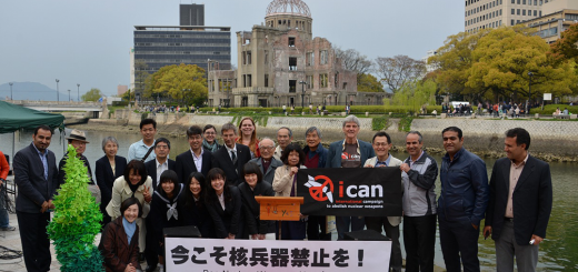 Members and colleagues of the Japan NGO Network for Nuclear Weapons Abolition  in front of the Atomic Bomb Dome in Hiroshima