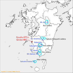 Volcanoes in the region of Kyushu EPCo Sendai Nuclear Power Station