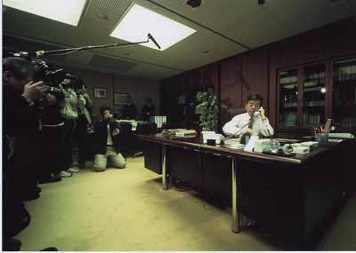 原子力防災訓練・市長室